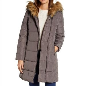 Cole Haan Feather & Down Puffer Jacket w Fur Trim